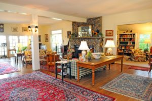 Great Room with Stone Fireplace andLibrary