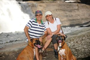 Couple with their two dogs