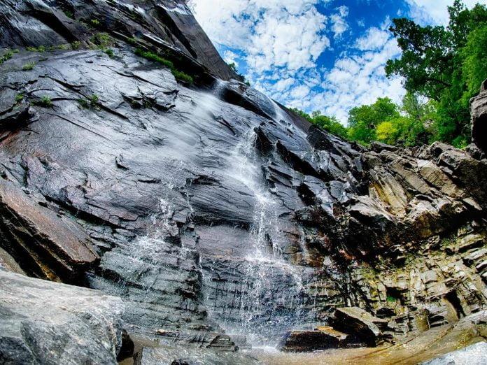 Waterfalls near Saluda; view of a cascade