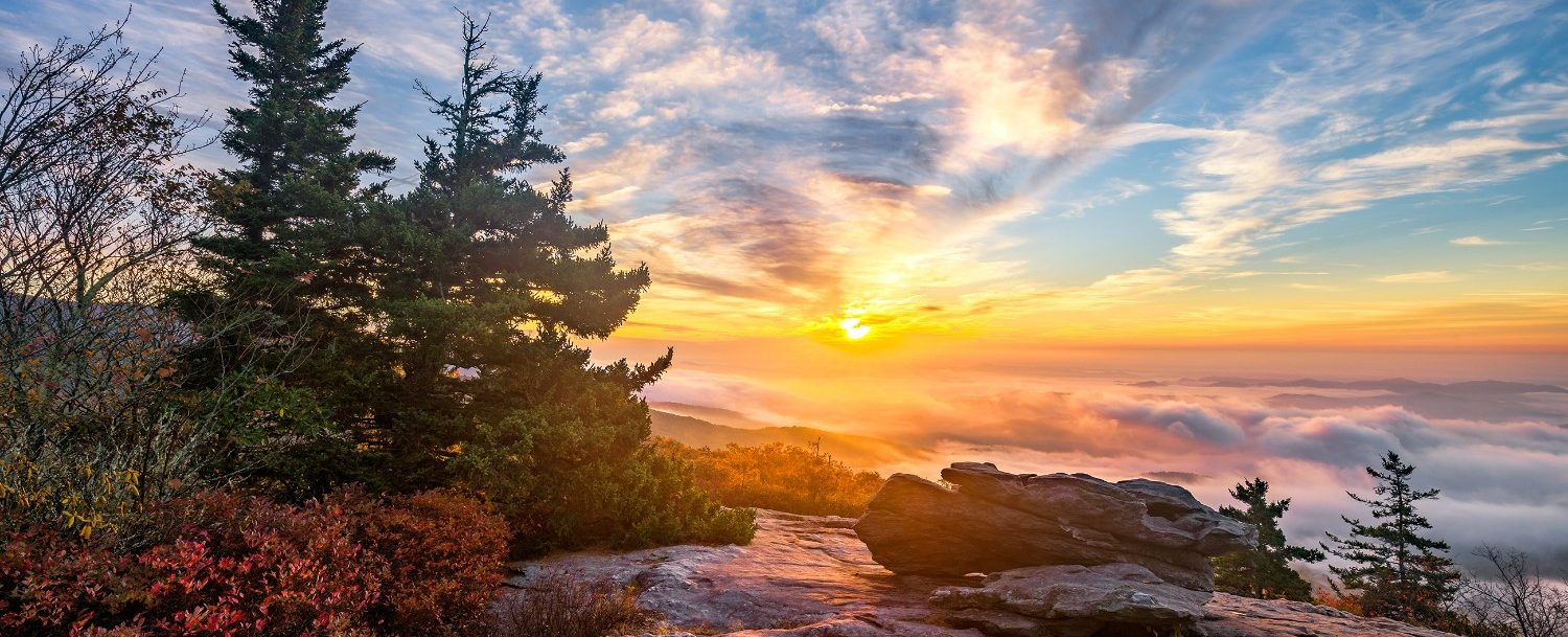 best views of blue ridge mountains sunrise in north carolina