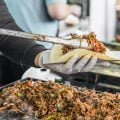 Cooking a taco at a street food market