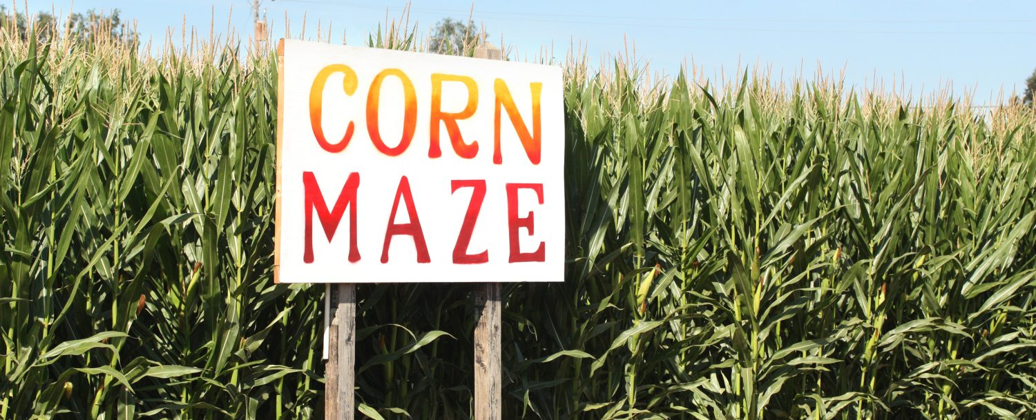 Corn Maze sign on the Eliada Corn Maze