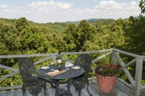 The outside, mountain-view deck of the Paulownia Cottage at Orchard Inn.