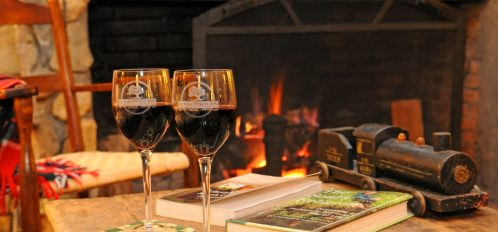 wine by the fire during weekend getaway from columbia, nc