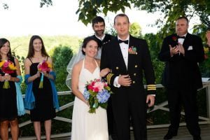 a couple newly married with our NC Large Group Wedding Package