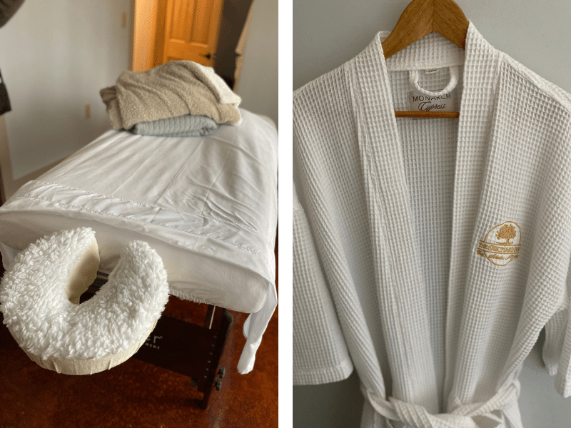 Orchard Inn spa services robe and massage chair