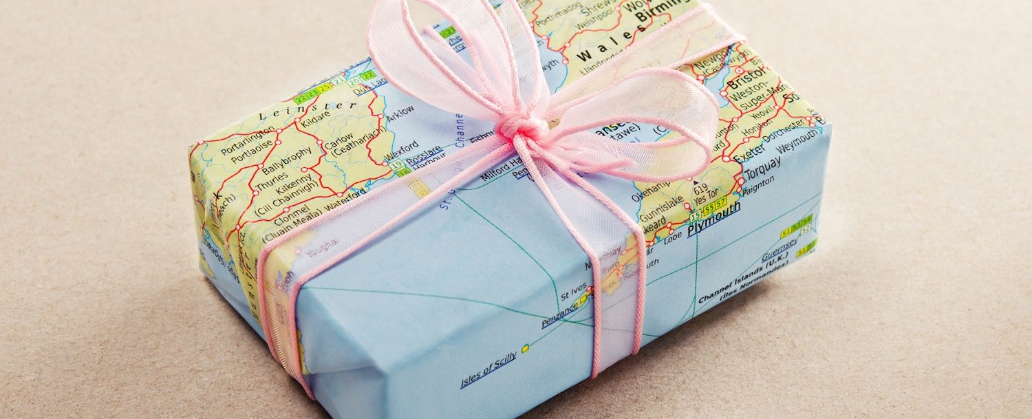 Gift with world map wrapping paper