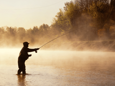 fly fishing in the water