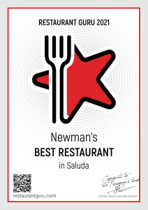 Best Restaurant in Saluda Certificate